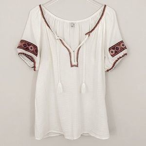 j. crew embroidered gauze tassel tunic